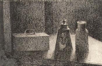 Nature morte,1994, dessin au crayon lithographique, 23 x 35,5 cm.