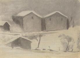 Paysage de neige, monotype, 17 x 23 cm